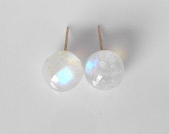 Rainbow Moonstone Globe Earrings | READY to SHIP |  Handmade with 14k Gold, Birthstone Earrings, Gemstone Earrings,