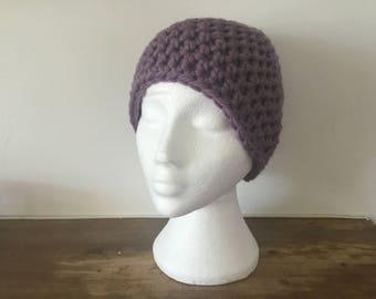 Light Purple Chunky 100% Wool Beanie