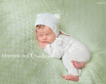 Newborn footed romper and kitten hat. Super soft and fluffy white knitted new baby set. Newborn photo prop