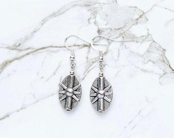 Silver Earrings, Starburst Earrings, Tribal Style Earrings, Mother's Day Gifts, Metal Boho Earrings, Trendy Dangle Earrings, Gifts for Women
