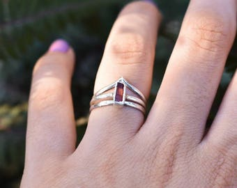 Raw Pink Tourmaline Ring | Pink Tourmaline | Tourmaline | Tourmaline Ring | Tourmaline Jewelry | Stacking Rings | Sterling Silver |