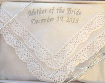Mother of the Bride or Groom, Bridesmaid, Ladies Handkerchief, crochet lace,  wedding gift