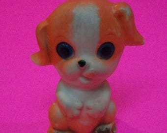 """Vintage Puppy Dog Squeeze Toy 3.5""""   Orange And Cream Squeaky Toy Antique Baby Toy -Lots of Dirt And Wear, Made In Taiwan Works"""