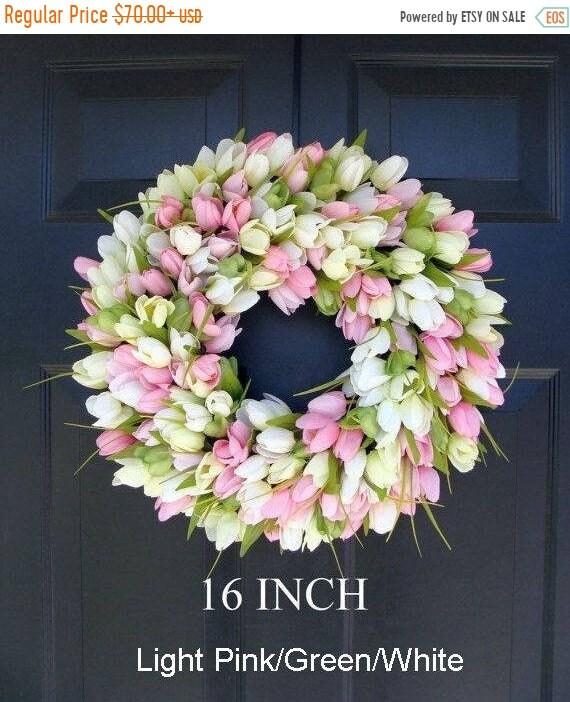 SUMMER WREATH SALE Spring Wreath- Door Wreath- Easter Wreath- Tulip Wreath- Sizes 16-26 inches, custom colors- The Original Tulip Wreath