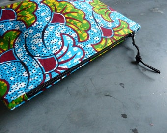 multicolored African fabric, patterns ibiscus makeup pouch