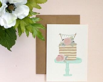 Wedding Cake Card - Wedding Day Greeting Card - Wedding Stationery
