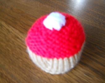 Cupcake pin cushion, red pin cushion Knitted cupcake pin cushion, stocking stuffer pin cushion