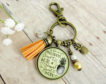 Be a Pineapple Keychain With Tassel Charm, Stand Tall Wear a Crown Be Sweet Bronze Women's Summer Key Ring Pineapple Charm Cute Gift For Her