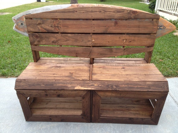Items Similar To Surfers Bench   Pallet Wood Bench With Surfboard Rack  Built In! On Etsy