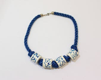 Vintage Blue Rope and White Bead Necklace