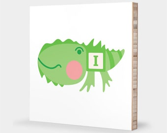 I for Iguana : ABC Block Bamboo Wall Art Series // Alphabet Kids Wall Art Nursery Room Decor Animal Art Baby