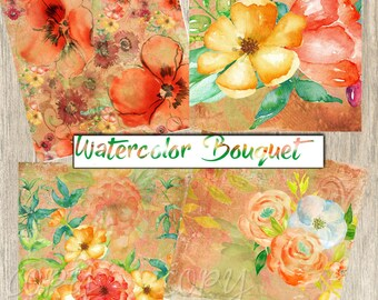 Instant Download -  Watercolor Bouquet Coaster Images  -  Collage Sheet - Printable Download - Gift Tags - Scrapbook