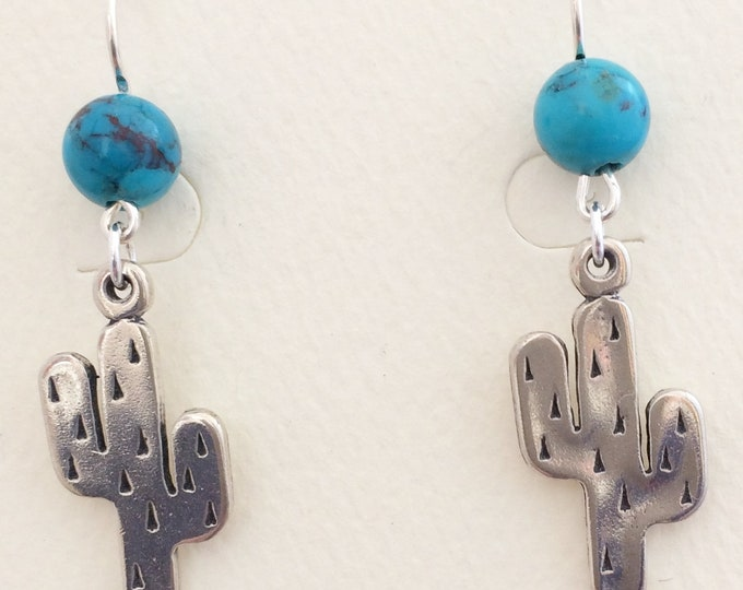 Sterling Silver Saguaros with Turquoise