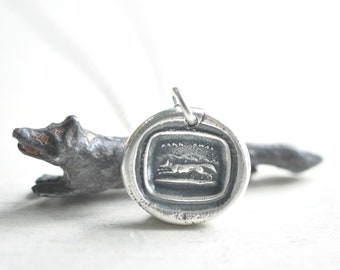 fox pendant - fox wax seal necklace - hark away … wisdom and wit - silver antique hunting wax seal jewelry