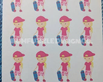 SKATER GIRL | Deco | Planner Scrapbook Diary Stickers
