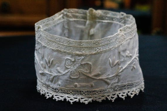 Small Antique Lace Collar, Filet Lace Tatting Floral Embroidery, Ivory Batiste Muslin, Buttons Metal Boning, Crafts Sewing, Edwardian Lace