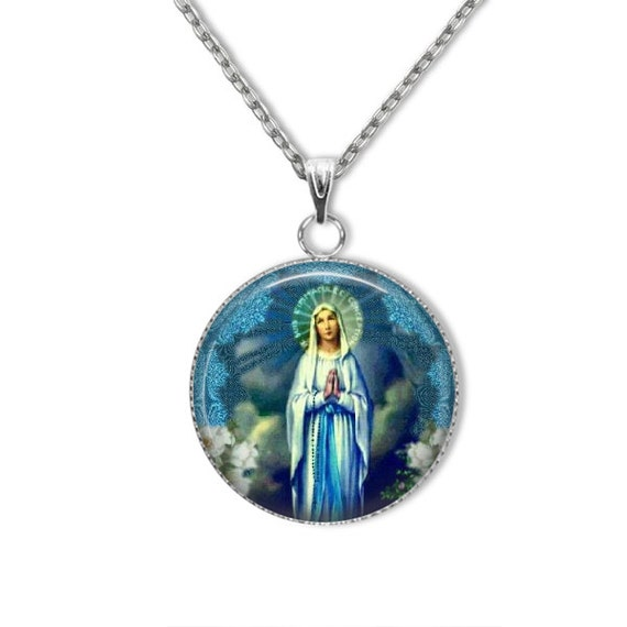 Our Lady of Lourdes Pendant with 18 or 24 inch stainless steel chain - Blessed Virgin Mary Necklace