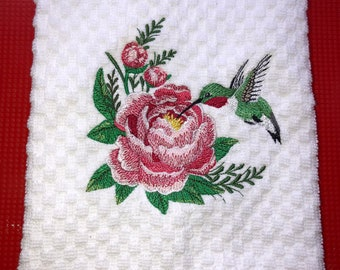Embroidered Kitchen Towels, Tea Towels, Housewarming Gift, Hummingbird Towels