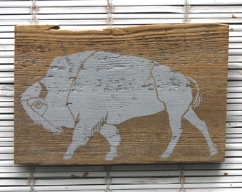 Bison Wall Hanging on Reclaimed Barn Wood