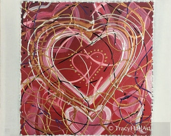 "Heart Painting Valentines Day Gift Pink Gold Red White Love Gift Art 12"" x 12"" Canvas"