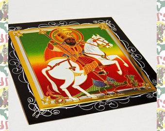Metal Art Sticker -The Warth of JAH (roots reggae dub rastafari africa ethiopia jamaica haile selassie i)