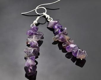 Sterling Silver Amethyst Earrings - Dangle Earrings Purple Chips - Surgical Steel Ear Wires - Hypoallergenic