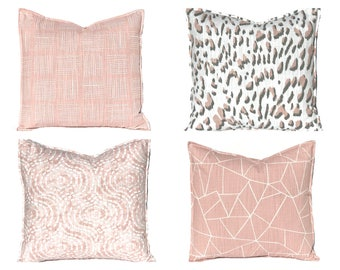 Blush Pink Pillow Covers - Throw Pillow Covers - Decorative Pillow Covers - Blush Pink and Gray - 16 x 16 Pillow Covers - Sofa Pillow Covers