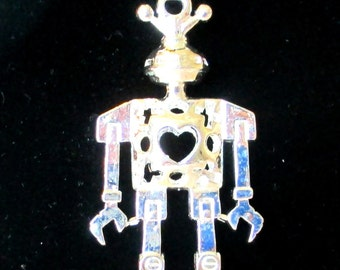 Silver Pleasted Heart Robot Pendant and Sterling Chain