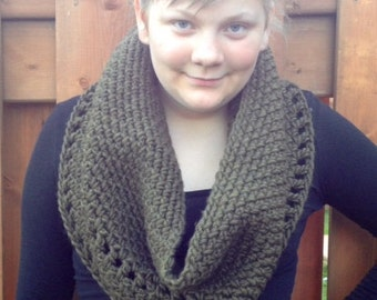 Crocheted  Cozy Cowl in Olive, RTS  Photo Prop Hat Scarf Shawl Fall Winter