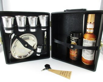 An 'Ever-Ware' Traveling Bar - 'Trav-L-Bar' With Key - Faux Leather Case - Stainless Accessories - Complete Bar Set For Travel