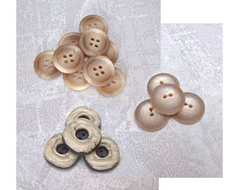 Beige Sewing Buttons, 20mm 3/4 inch - CHOOSE Layered PL697, Marbled PL698, Domed PL699 - VTG NOS Light Beige Brown Plastic Sewing Buttons