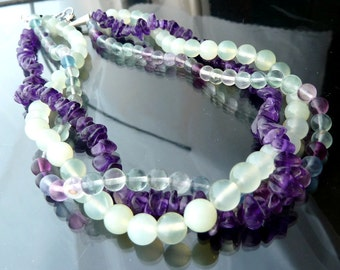 Jade Amethyst Rainbow Fluorite multistrand necklace green and purple choker in sterling silver 16 or 18 inches OOAK jewelry