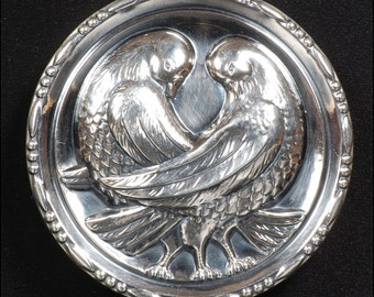 1930s Sterling Love Doves Brooch Pin