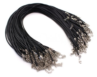 "50 Black 17"" Imitation Leather Cord Necklaces - With Lobster Clasp - 2mm Thick - 17 to 19 Inch With Extension Chain"