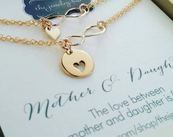 mother of the bride gift from daughter, mother daughter infinity heart bracelet set, mother daughter gift, gift from daughter, wedding