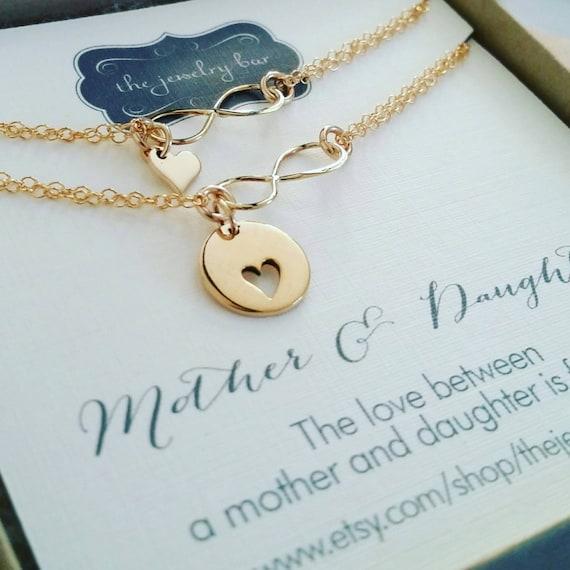 Mother & daughter heart infinity bracelets