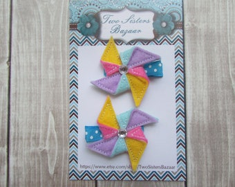 Pinwheel Hair Clip, Girls Hair Clip, Felt Hair Clip, Toddler Hair Clip, Embroidered Hair Clip, Spring Hair Clip, Purple Hair Clip