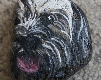 Handpainted Rock - Dog Terrier (paperweight, stone)