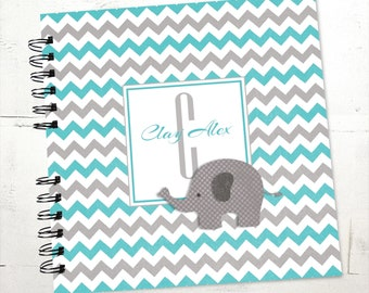 Baby Book |  Baby Memory Album | Elephant Grey Teal Chevron Wire Bound Baby Memory Book Keepsake Album