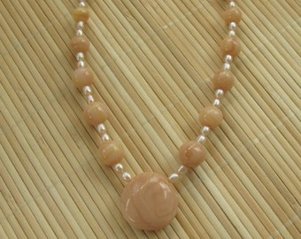 Faux Himalayan Salt Statement Necklace - Women's Handmade Beaded Artisan Jewelry by Roz Petalz Studio