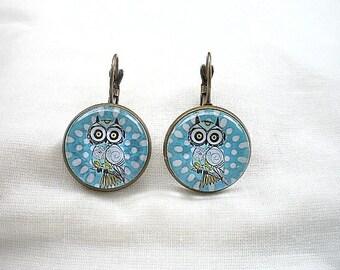 Earrings cabochon owls owls