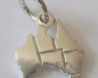Genuine SOLID 925 STERLING SILVER Australian Map charm/pendant