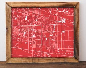 Carol Stream Map Carol Stream Art Carol Stream Map Art Carol Stream Print Carol Stream Printable Illinois Art