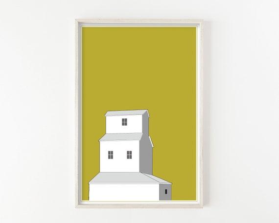 """Sunset Grain Elevator"" - wall art print"