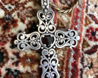 Silver Cross with Heart