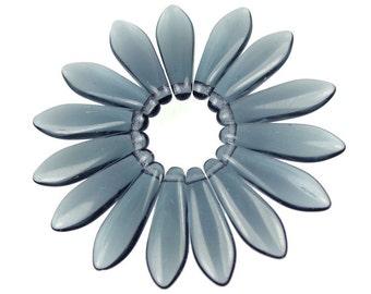 50 MONTANA BLUE Dagger Beads - 16mm x 5mm Top Drilled Pressed Glass Briolette Beads - Czech Glass Smoky Navy Blue Beads
