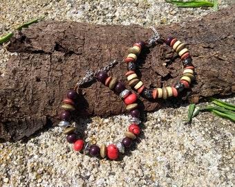 Grey red brown bracelets