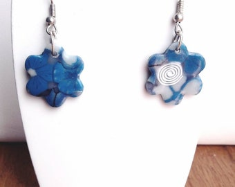 Earrings dangle blue white fimo flower
