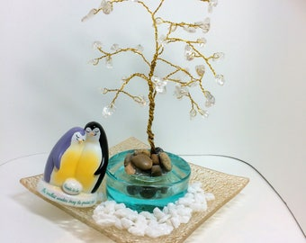 Parents to be penguin figurine and Wirewrapped bonsai tree centetpiece