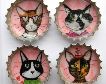 Cat Magnets - Super Strong Magnets - Funny Cat Magnets - Bottle Caps - Refrigerator Magnets - Dapper Animals - Cat Lover Gift